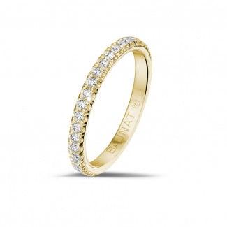- 0.35 karaat alliance (half gezet) in geel goud met ronde diamanten