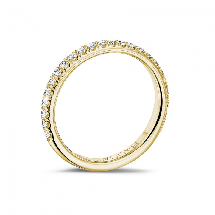 0.35 karaat alliance (half gezet) in geel goud met ronde diamanten