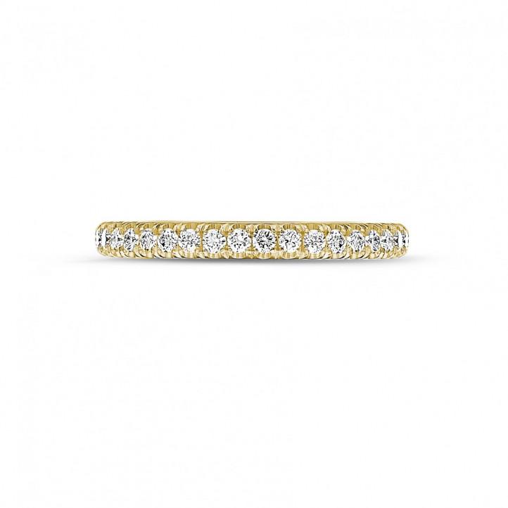 0.35 caraat alliance (half gezet) in geel goud met ronde diamanten