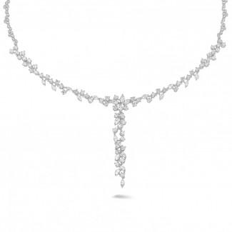 Halskettingen - 7.00 karaat halsketting in wit goud met ronde en marquise diamanten