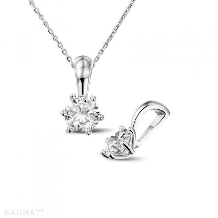0.50 karaat solitaire hanger in wit goud met ronde diamant