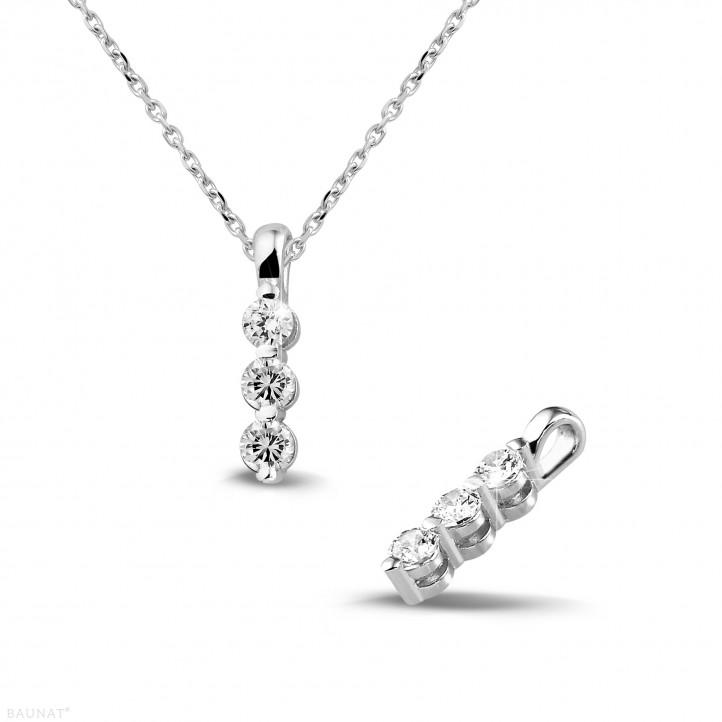 0.30 karaat trilogie diamanten hanger in wit goud