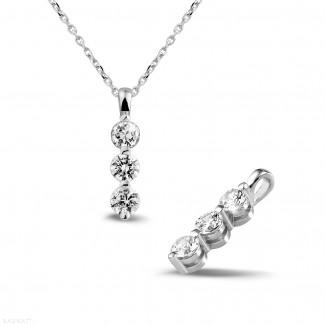 0.75 caraat trilogie diamanten hanger in wit goud