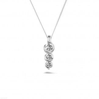 Witgouden Diamanten Halskettingen - 0.57 caraat trilogie diamanten hanger in wit goud