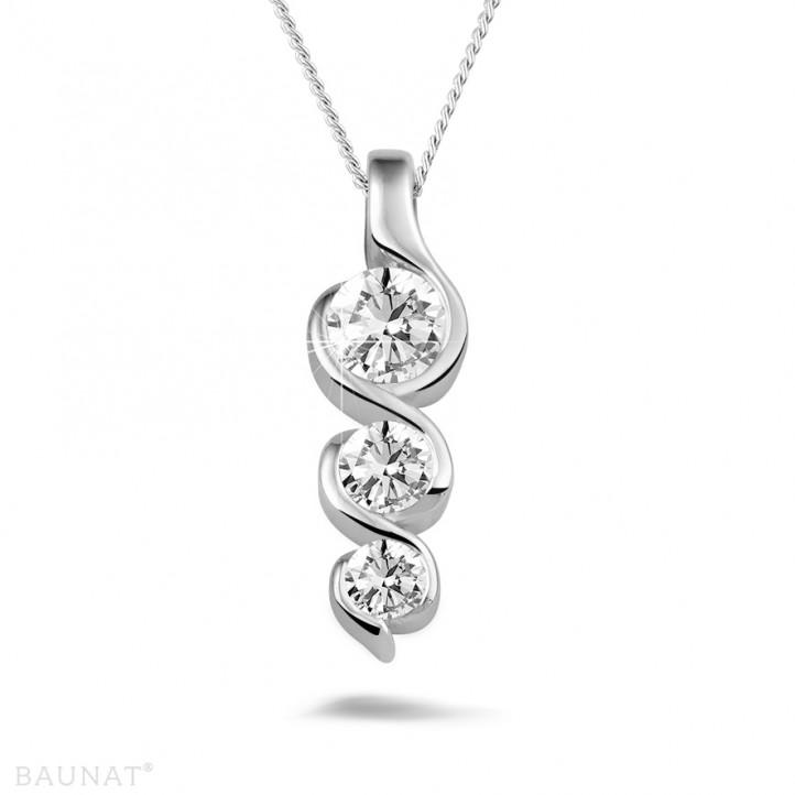 0.57 karaat trilogie diamanten hanger in wit goud
