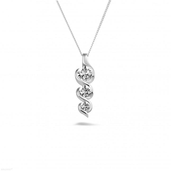 0.85 karaat trilogie diamanten hanger in wit goud