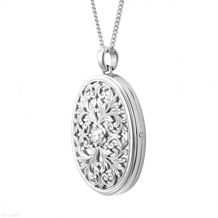 0.40 karaat diamanten design medaillon in wit goud