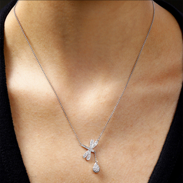 0.36 karaat diamanten libelle halsketting in platina