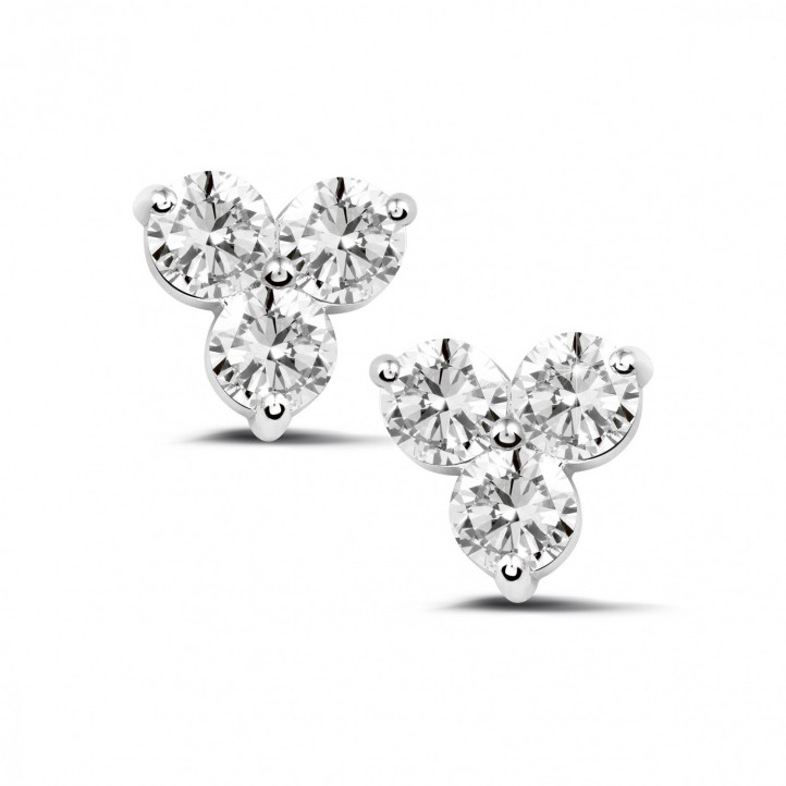 2.00 karaat diamanten trilogie oorbellen in wit goud