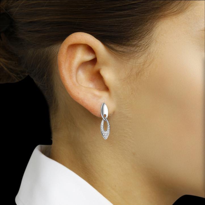 0.27 karaat diamanten oorbellen in platina