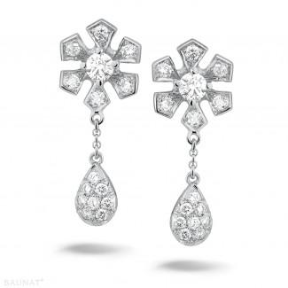 Platina - 0.90 caraat diamanten bloem oorbellen in platina