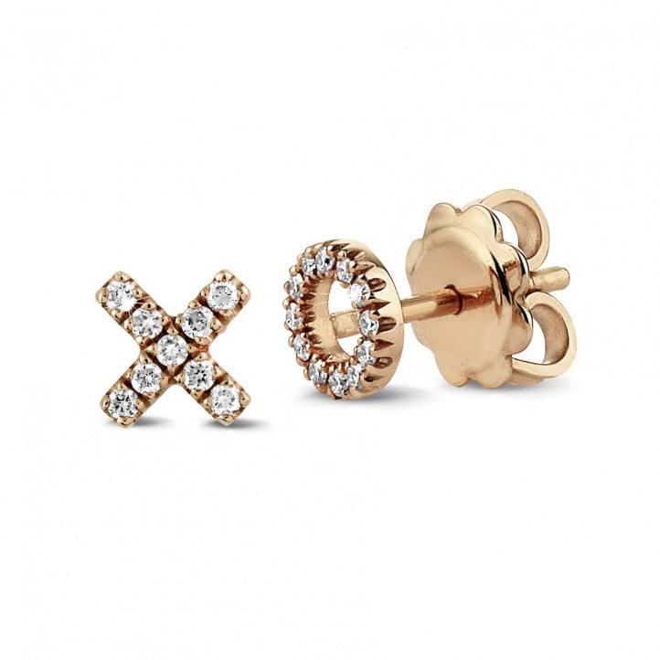 XO oorbellen in rood goud met kleine ronde diamanten