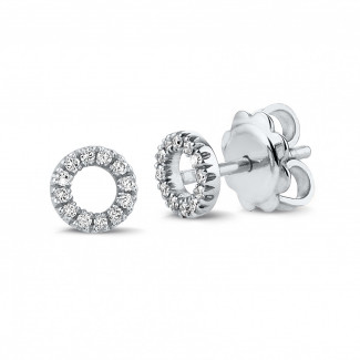 Originaliteit - OO oorbellen in platina met kleine ronde diamanten