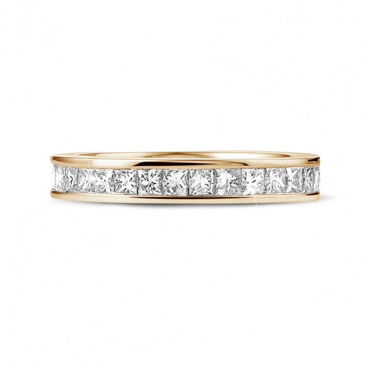 1.75 karaat alliance (volledig rondom gezet) in rood goud met princess diamanten