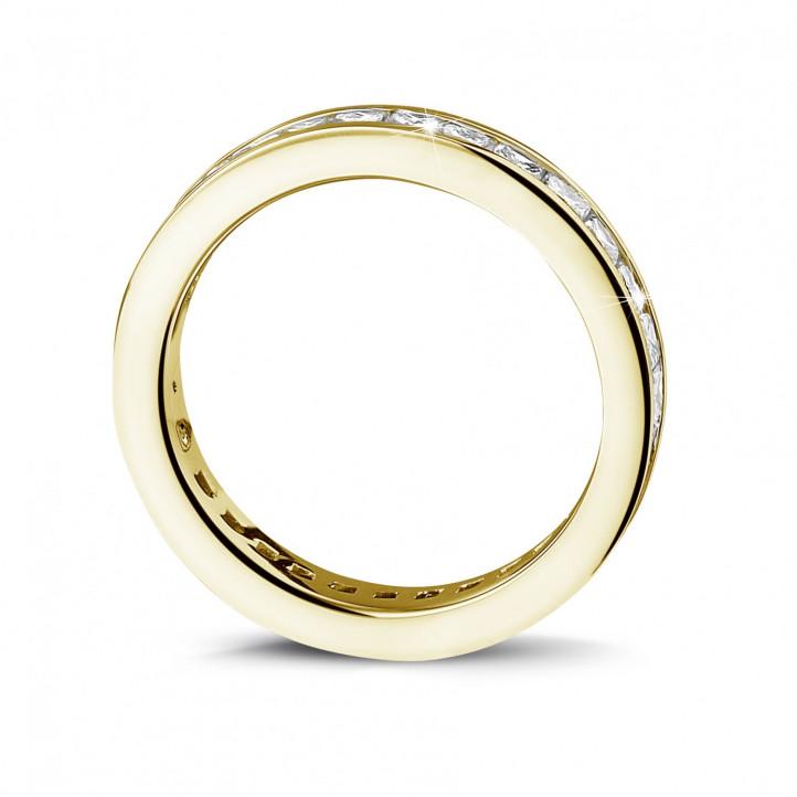 1.75 caraat alliance (volledig rondom gezet) in geel goud met princess diamanten