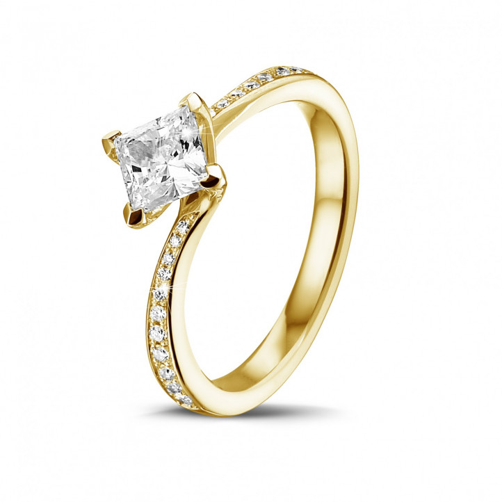 0.70 caraat solitaire ring in geel goud met princess diamant en zijdiamanten