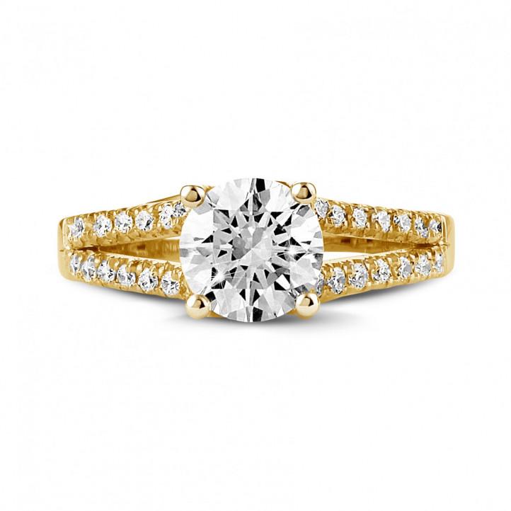 1.20 karaat solitaire ring in geel goud met zijdiamanten