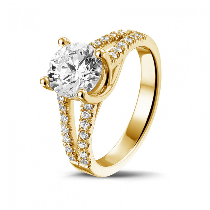 1.50 caraat solitaire ring in geel goud met zijdiamanten