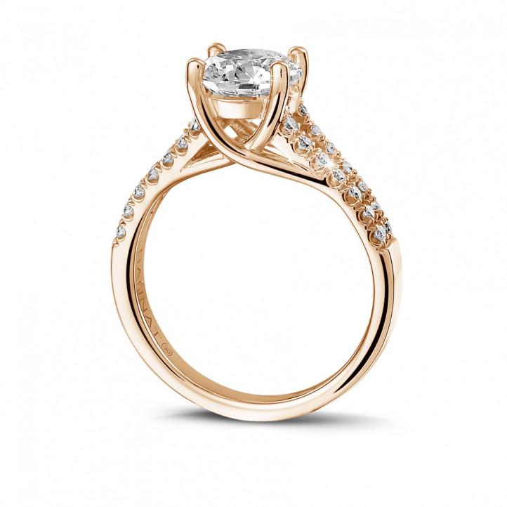 1.50 caraat solitaire ring in rood goud met zijdiamanten