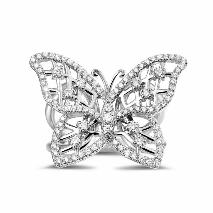 0.75 caraat diamanten design vlinderring in platina