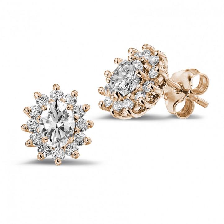 2.00 karaat entourage oorbellen in rood goud met ovale en ronde diamanten