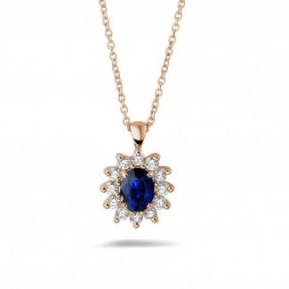 Juwelen met robijn, saffier en smaragd - Entourage hanger in rood goud met ovale saffier en ronde diamanten