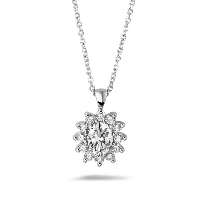 1.85 karaat entourage hanger in wit goud met ovale en ronde diamanten