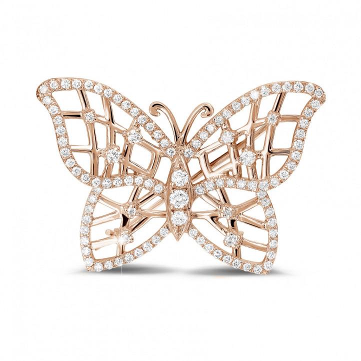 0.90 caraat diamanten design vlinder broche in rood goud