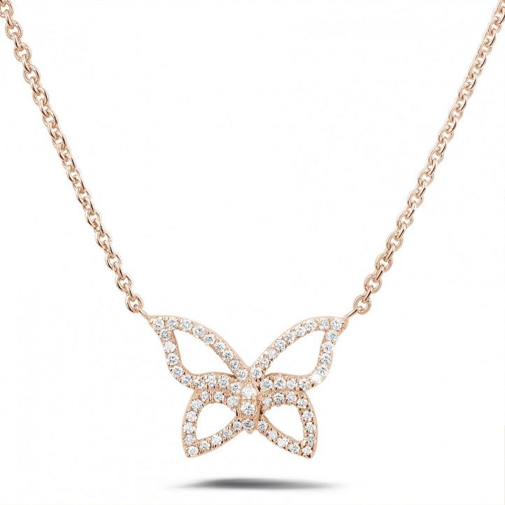 0.30 karaat diamanten design vlinder ketting in rood goud