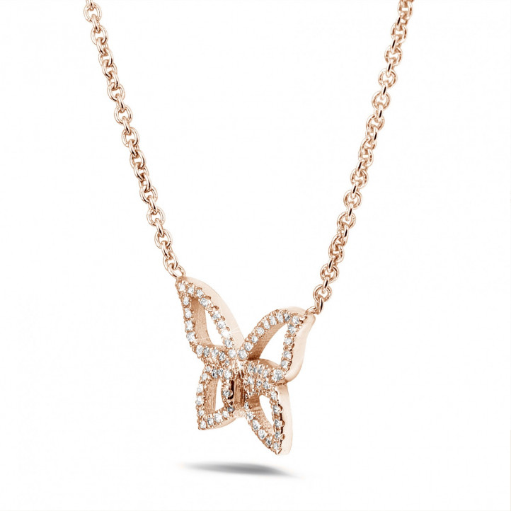 0.30 caraat diamanten design vlinder ketting in rood goud