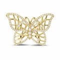 0.90 caraat diamanten design vlinder broche in geel goud