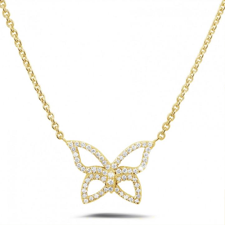 0.30 karaat diamanten design vlinder ketting in geel goud