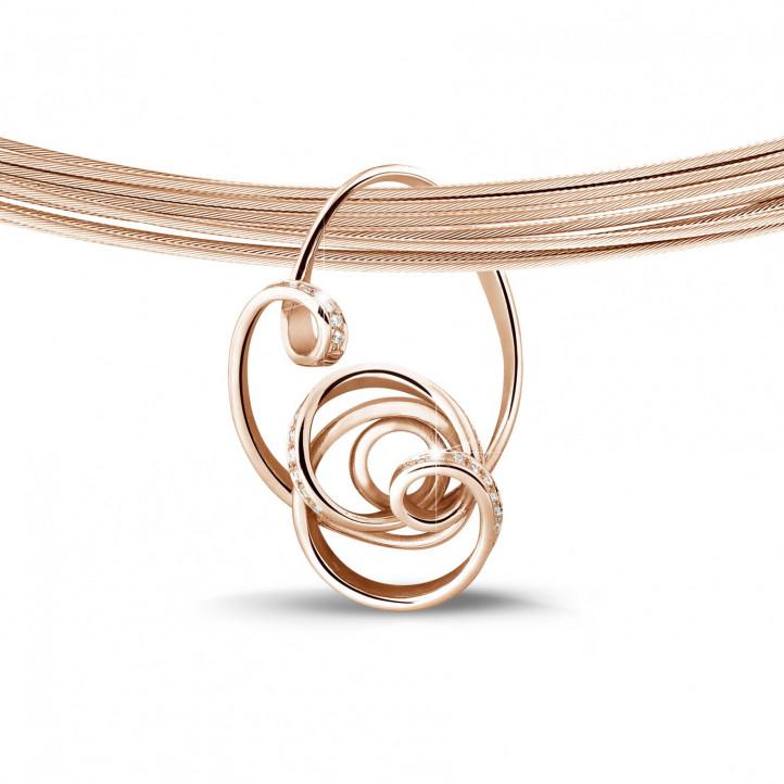 0.80 caraat diamanten design hanger in rood goud