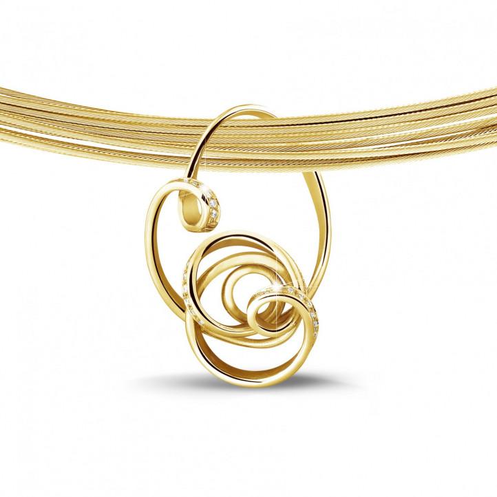 0.80 caraat diamanten design hanger in geel goud