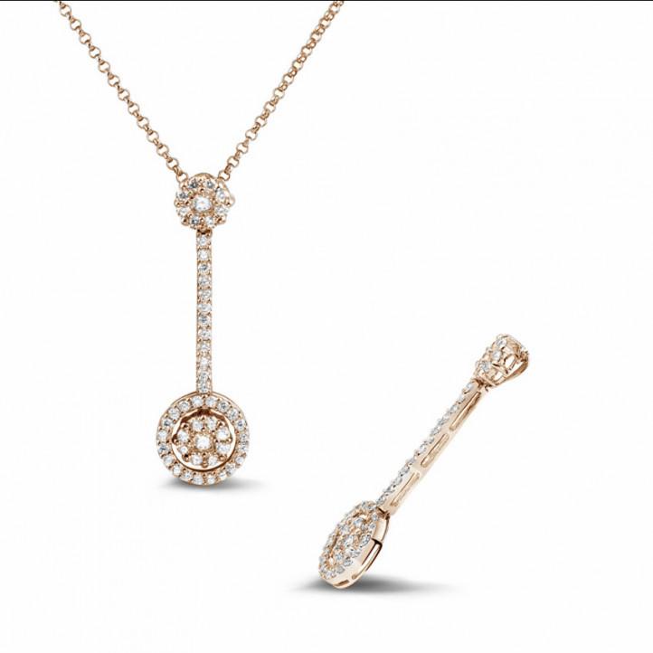 0.90 karaat diamanten halo pendant in rood goud