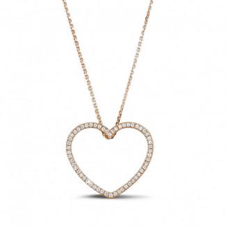 Roodgouden Diamanten Halskettingen - 0.45 caraat diamanten hartvormige pendant in rood goud