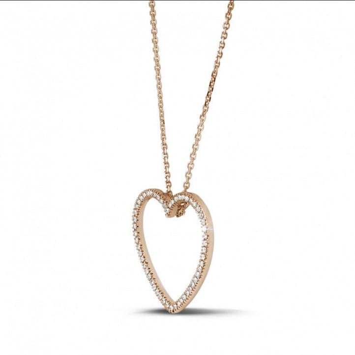 0.75 karaat diamanten hartvormige pendant in rood goud