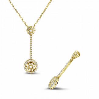 Classics - 0.90 karaat diamanten halo pendant in geel goud
