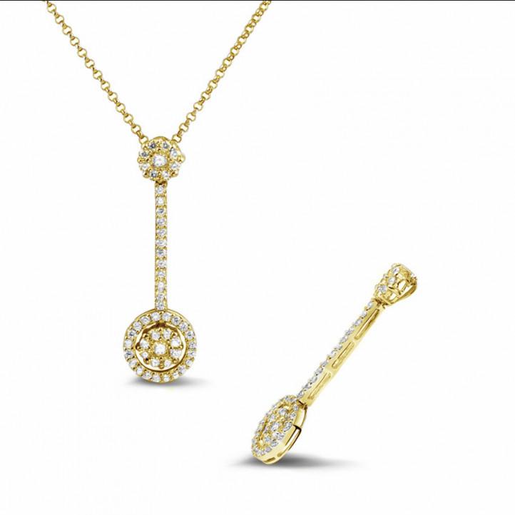 0.90 karaat diamanten halo pendant in geel goud