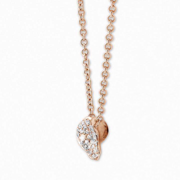 0.25 caraat diamanten design halsketting in rood goud