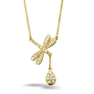 Geel Goud - 0.36 caraat diamanten libelle halsketting in geel goud