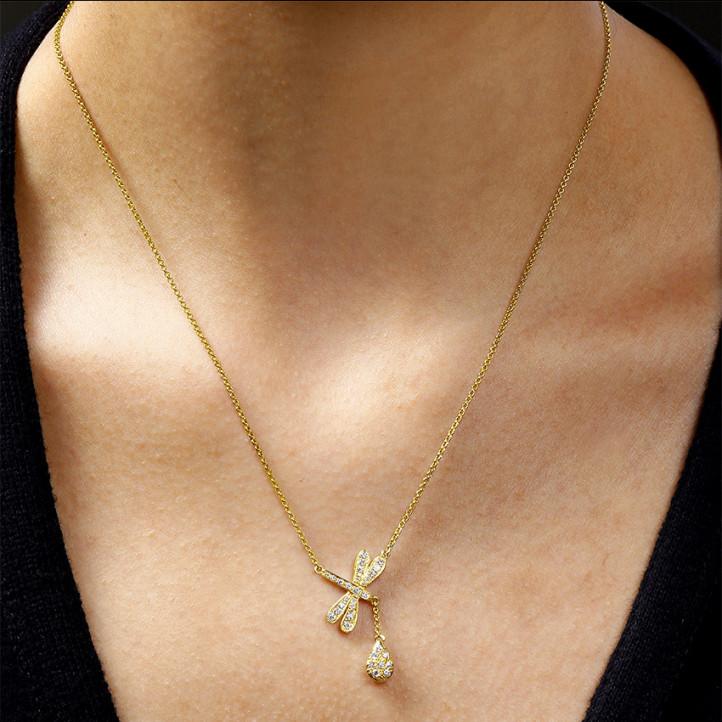 0.36 caraat diamanten libelle halsketting in geel goud
