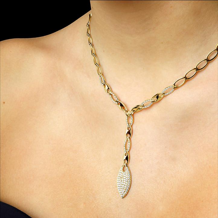 1.65 caraat diamanten halsketting in geel goud