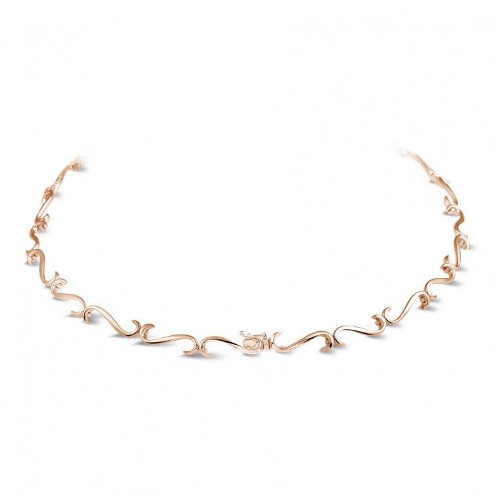 3.65 karaat diamanten halsketting in rood goud