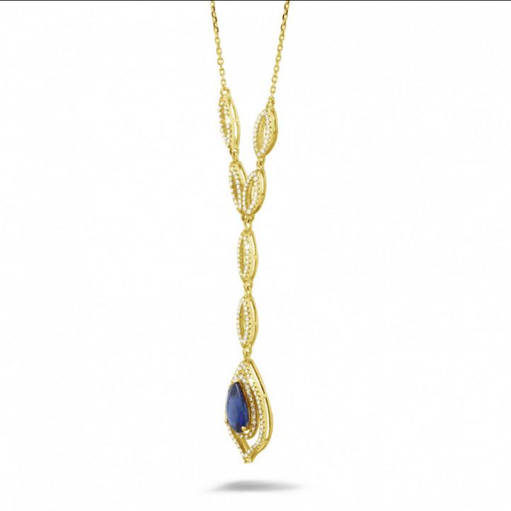 Diamanten halsketting met peervormige saffier van ongeveer 4.00 karaat in geel goud