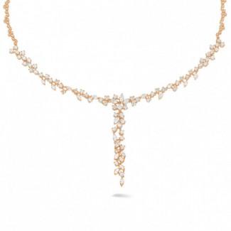 5.85 caraat halsketting in rood goud met ronde en marquise diamanten