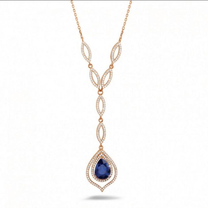Diamanten halsketting met peervormige saffier van ongeveer 4.00 karaat in rood goud