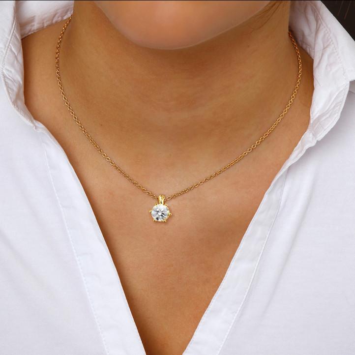 2.00 caraat solitaire hanger in geel goud met ronde diamant