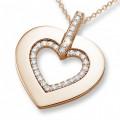0.36 karaat hartvormige hanger met kleine ronde diamanten in rood goud