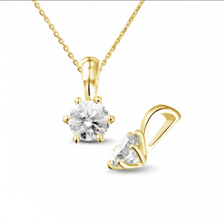 0.75 caraat solitaire hanger in geel goud met ronde diamant